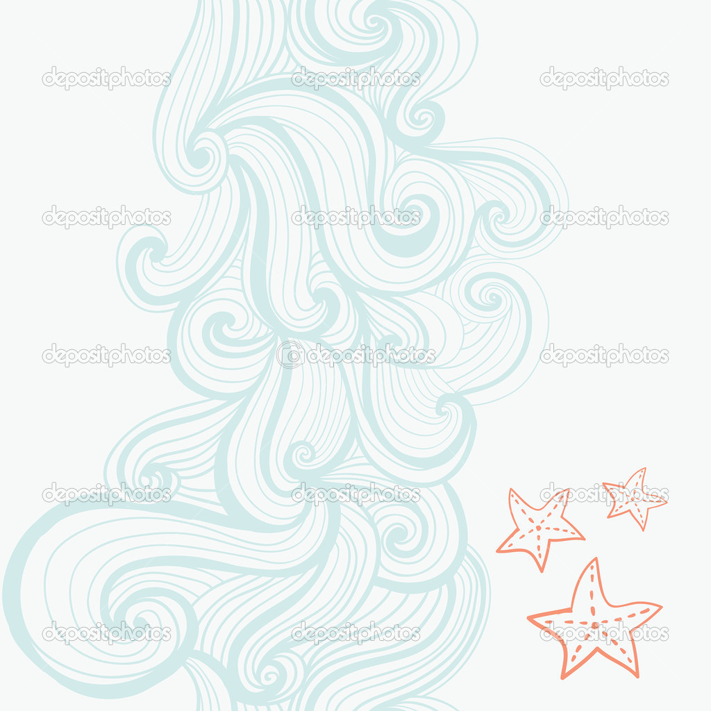 Background waves and starfish, maritime pattern — Stock Vector #8132171