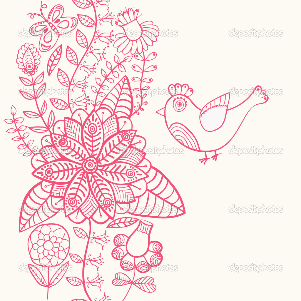 Vintage romantic background with bird. Bird, floral card — Stock Vector #8204506