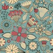 Bezešvá textura s květinami a motýli. nekonečné květinové pa — Stock vektor