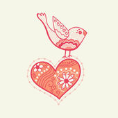 Vector bird on the heart — Stock Vector