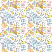 Seamless texture con fiori e farfalle su blu. f infinite — Vettoriale Stock