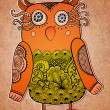 Stock Photo: Cute owl on real paper background. Lacy bird.