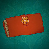 Illustration of wallet with flower and abstract grange background. Girlish — Stock Photo