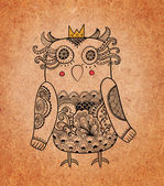 Cute owl Princess on real cardboard background. Lacy bird on paper. — Stock Photo