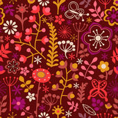 Floral seamless pattern, endless texture with bright cartoon flo — Stock Vector