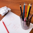 Pencils and drawing — Stock Photo