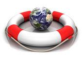 Globe and buoy — Stock Photo