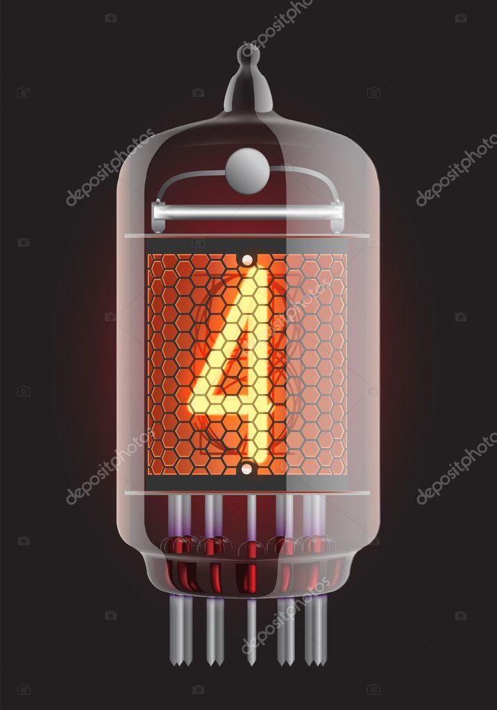 Nixie tube indicator. The number four of retro, Transparency guaranteed. Vector illustration.  Stock Vector #10172463