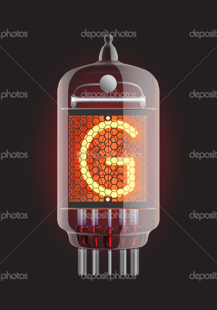 "Nixie tube indicator. Letter ""G"" from retro, Transparency guaranteed. Vector illustration. — Stock Vector #10172815"