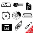 Stock Vector: Car part icon set 9