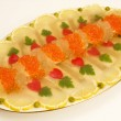Fish jellied with red caviar. — Stock Photo