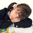 The schoolgirl was tired — Stock Photo
