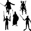 Silhouettes of warriors — Stock Vector