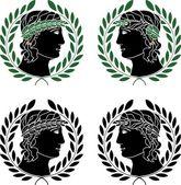 Profile of greek men — Stock Vector