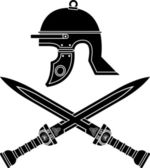 Roman helmet and swords — 图库矢量图片