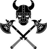 Skull of the warrior — Stock Vector