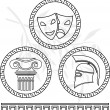 Stock Vector: Stencils of hellenic images
