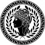 Black stencil of patrician women — Stock Vector #8403876