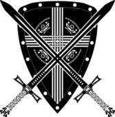 Mittelalterliche schild und schwert — Stockvektor