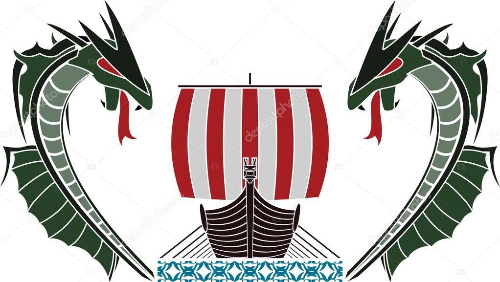 Viking ship and dragons — Stock Vector © santi0103 #8403906
