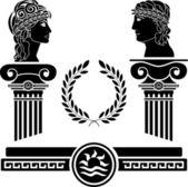 Columnas griegas y cabezas humanas — Vector de stock