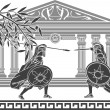 Greek warriors and temple — Vector de stock #9351346