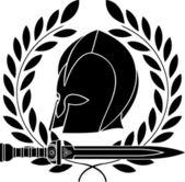 Fantasy barbarian helmet with laurel wreath — Stock Vector