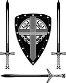 Fantasy european shield and swords — Stock Vector