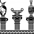 Stock Vector: Set of hellenic vases and ionic columns