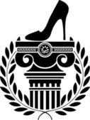 Column, laurel wreath and women's shoe — Stock Vector