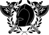 Fantasy barbarian helmet with axes and laurel wreath — Stock Vector