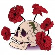 Skull, lizard and poppies - Stock Vector