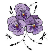Violet pansies — Stock Vector