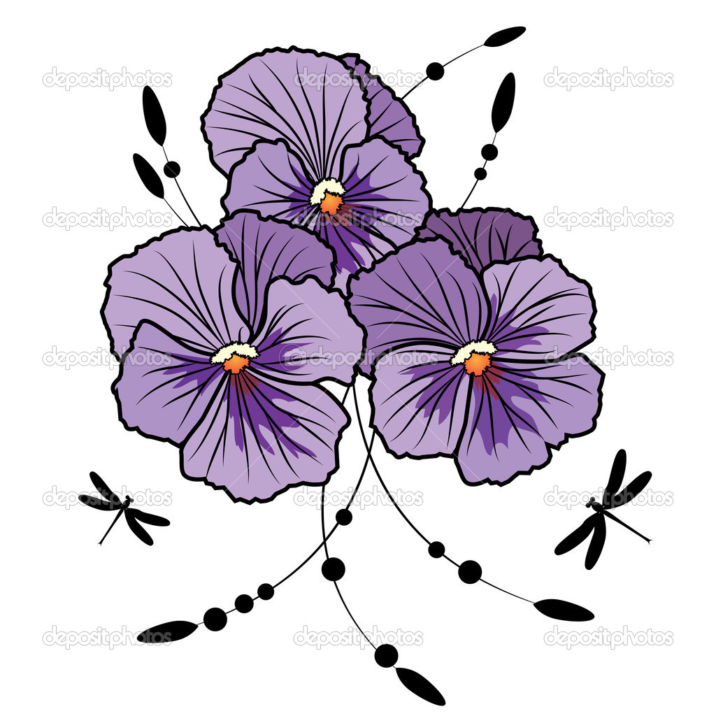 Vector illustration of flowers of  violet pansies and dragonflies (EPS 10 ) — Stock Vector #9521399