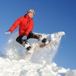 Young woman on snowboard — Stock Photo #9779318