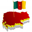 Three-dimensional image map of Cameroon with the national flag — Imagens vectoriais em stock