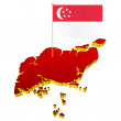 Three-dimensional image map of Singapore with the national flag - Stock Vector