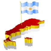 Mapa de imagen tridimensional de la argentina con la bandera nacional — Vector de stock
