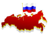 Three-dimensional image map of Russia with the national flag — Stock vektor