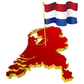 Three-dimensional image map of Netherlands with the national fla — Stock Vector