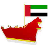 Three-dimensional image map of United Arab Emirates with the nat — Stock Vector