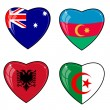Set of vector images of hearts with the flags of Australia, Azer — Stock Vector