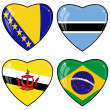 Set of vector images of hearts with the flags of Bosnia and Herz - Stock Vector