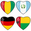 Set of vector images of hearts with the flags of Germany, Guatem — Stok Vektör