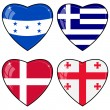 Set of vector images of hearts with the flags of Honduras, Georg — Imagen vectorial