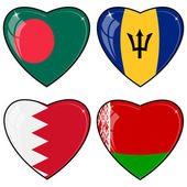 Set of vector images of hearts with the flags of Bangladesh, Bar — Stock Vector
