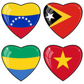 Set of vector images of hearts with the flags of Venezuela, East — Stock Vector