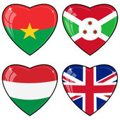 Set of vector images of hearts with the flags of Burkina Faso, G — Stock Vector