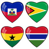 Set of vector images of hearts with the flags of Guyana, Haiti, — Stock Vector