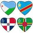 Set of vector images of hearts with the flags of Congo, Djibouti — Vettoriali Stock